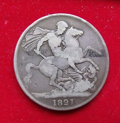 1821 Crown five shillings 5/- King George IV .925 Silve British Coin