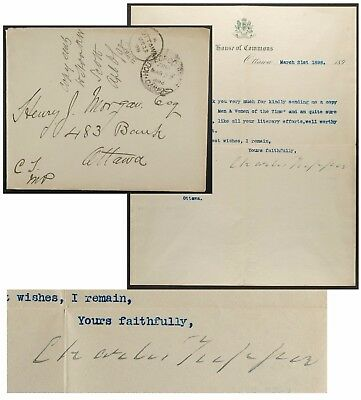 Sir Charles Tupper,1898,Canada Opposition Leader,Letter w/ AUTOGRAPH +Freefrank