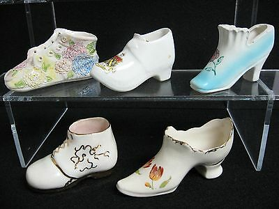 LOT 5 collectible SHOES ceramic porcelain pottery VINTAGE great price
