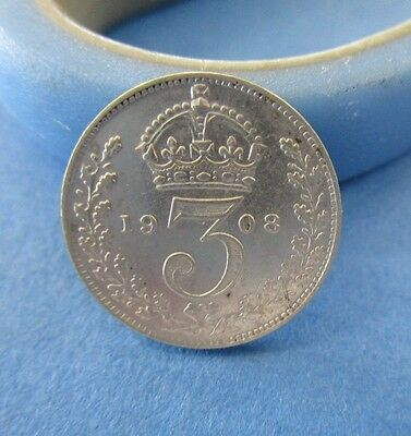 1908 English Silver Threepence Coin