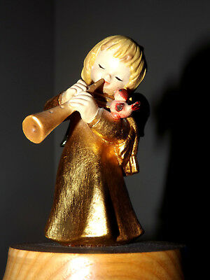 Vintage Anri Gold Angel Playing Horn Music Box It's A Small World Nice !!