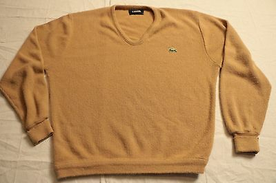 Vintage 80s Men's IZOD Lacoste Brown Beige V-Neck Sweater XL L Acrylic