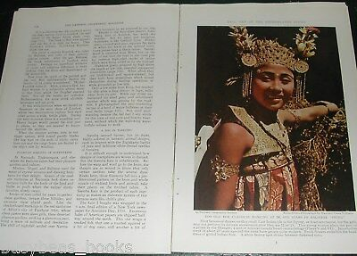 1939 magazine articles about BALI, Netherland Indies, color photos, natives