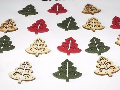 16 Small Wooden Christmas Tree card making Embellishments - red, green + natural