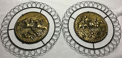 Fox Hunt Hunting Brass and Wire Wall Hangings Pair
