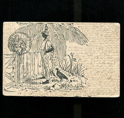 Jamaica Pen & Ink Postcard 1902 Artist Violet Heaven Sent to Germany
