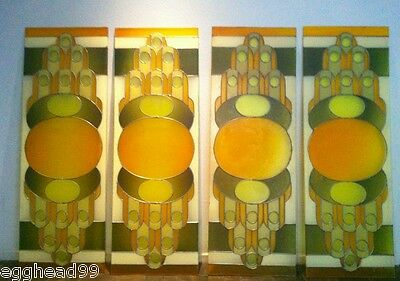 MID CENTURY MODERN ART DECO Alexander Girard, Wright stained plexi glass PANELS!
