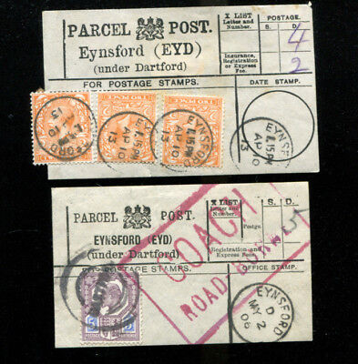 Eynsford Kent 2 Parcel Post Labels 1906 /13 Coach Road Borne Cachet Postmark