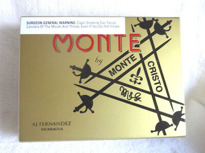 Montecristo Monte Belicosos Wood Cigar Box  - Gold  - Nice!  - Beautiful !!!