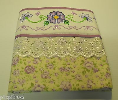 Guest linen towel lined Cross-stitch hand embroidery lace birds flowers 32 x 19