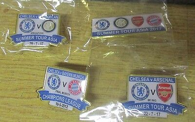 Chelsea Limited Edition  2017 4 Asia Summer Tour Badges Arsenal Inter Milan