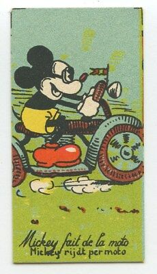 Disney Small Trade Card Mickey Mouse Motorcycle Chocolaterie Rubis old c1930s