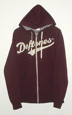 Auth DEFTONES Hoodie Jacket BLOOD RED Band Shirt THUMB HOLES Mens NEW : Lg