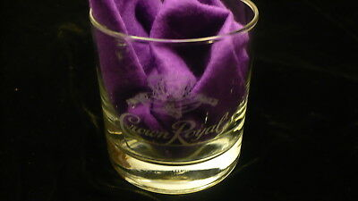 Crown Royal straight side etched pillow crown logo  whiskey glass