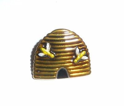 "Adorable Bee Hive Metal Shank Button 5/8"" x 5/8"" Two Bees On The Hive -Very Cute"