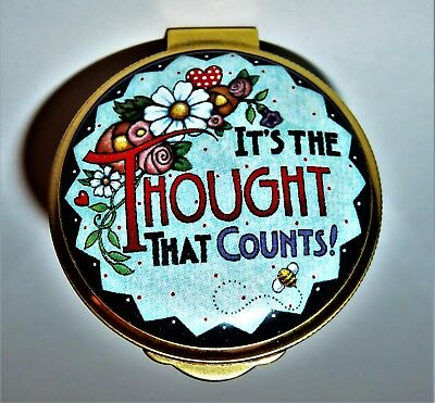 """Alastor English Enamel Box - Mary Engelbreit - """"it's The Thought That Counts"""""""