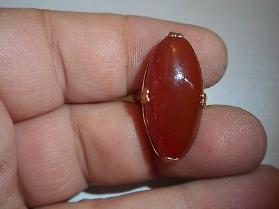 Antique Victorian 5CT Solitaire Carnelian Ring Adjustable Size 7