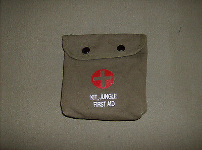 Olive drab green vintage style Rothco jungle first aid cotton canvas pouch only