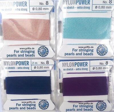 Value pack! 4 cards beading nylon thread cord 0.8mm & needle Nylonpower Griffin