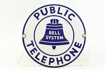Vintage 7 Inch Porcelain Bell System Public Telephone Sign Lovely Condition
