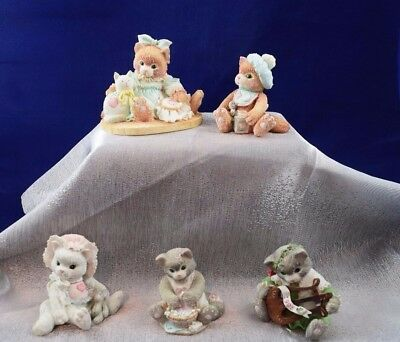 Vintage Lot Of 5 Calico Kittens Figurines