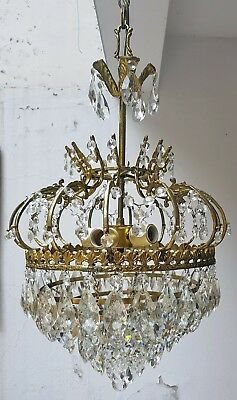 Antique Brass & Crystals LARGE Chandelier from 1950's