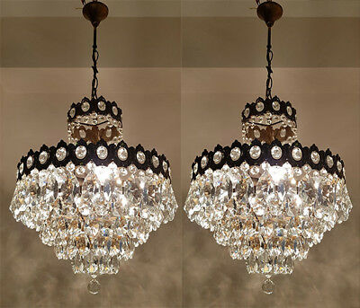 Pair of Antique French Basket Style Brass & Crystals LARGE Chandeliers 1950's