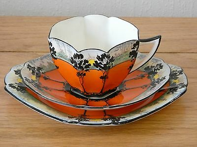 Lovely Shelley Art Deco Queen Anne Trees & Sunset Trio Cup Saucer Plate 11513