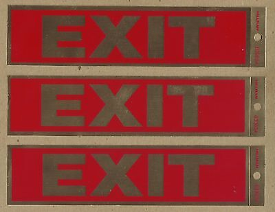 "3 Red & Gold NEW HILLMAN Exit 2"" x 8"" Decal Sticker Signs With ADHESIVE BACKS"