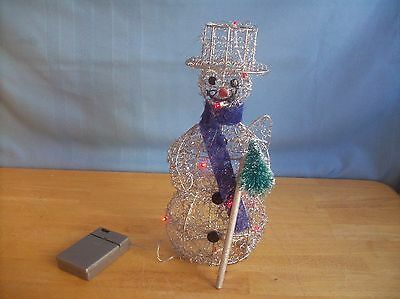 Silver Wire Light Up Snowman