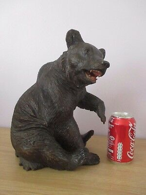 """Antique Large Quality 12"""" Black Forest Sitting Bear Wood Carving Swiss"""