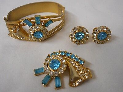 Vintage 3 Pc Blue Color Rhinestone Clamp Bracelet Pin Earrings Set Excellent