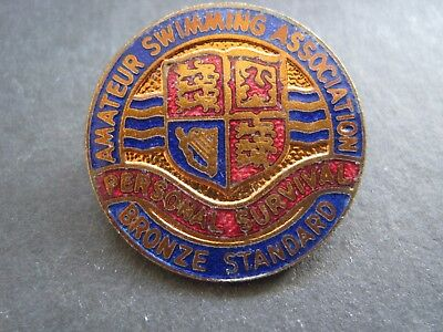 "Amateur Swimming Association ""personal Survival"" Bronze Award Pin Back Badge"