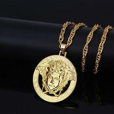 Medusa Head 70cm 24k Gold Plated Pendant & hiphop bling chain Iced Out