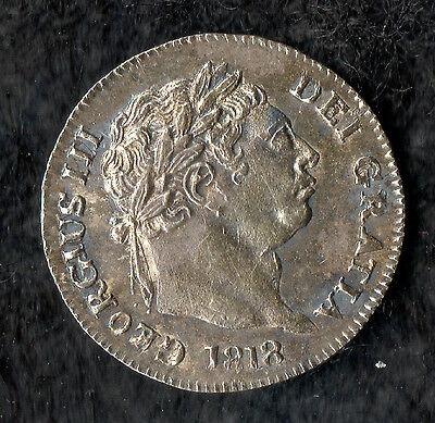 George III Maundy Penny Silver 1818 Bull Head issue