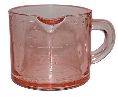 Depression Glass Transparent Pink One Cup Measuring Cup - RARE