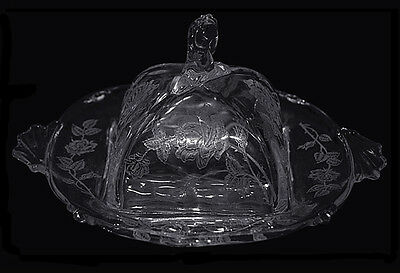 Heisey Rose Waverly Butter Dish
