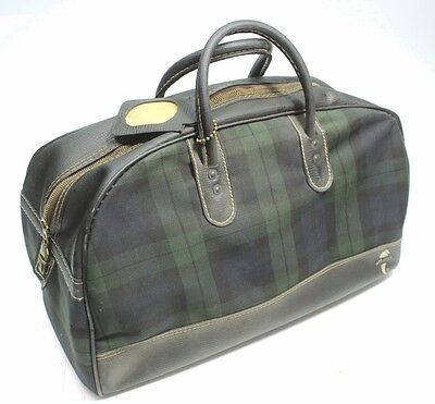 Vintage Atlantic Travel Carry On Doctor Style Day Bag Green Plaid Zipper Entry