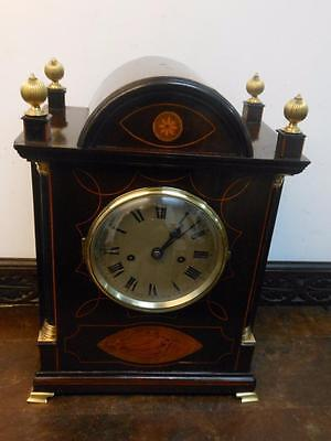 large mahogany double fusee bracket  clock