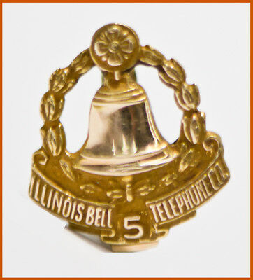 Vintage Illinois Bell Telephone Co. 10K Gold Top 5 Year Service Award Pin