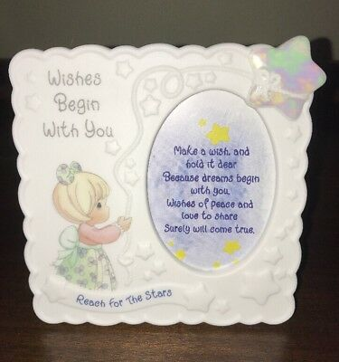 """Precious Moments """" Wishes Begin With You """" Porcelain Frame"""