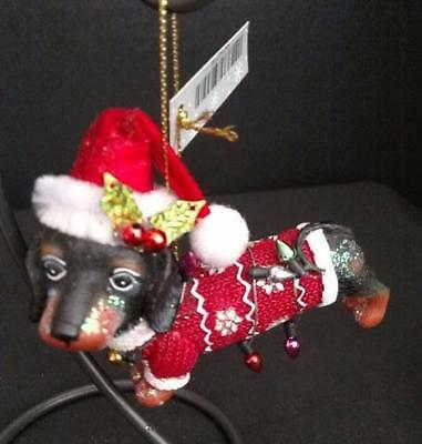 Black Dachshund in Red Christmas Sweater Dog Shaped Ornament