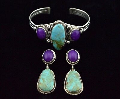 Native American Navajo Indian Jewelry Sterling Silver Turquoise & Sugilite Set