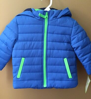 Boys 12 Months Carter's Winter Puffer Hooded Jacket NEW NWT $75 Lined Blue