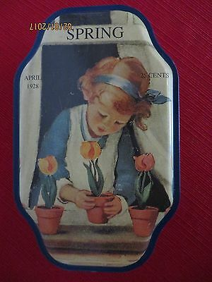 """Good Housekeeping """"Spring"""" Tin - April 1928 - 25 cents - Girl with Tulips"""
