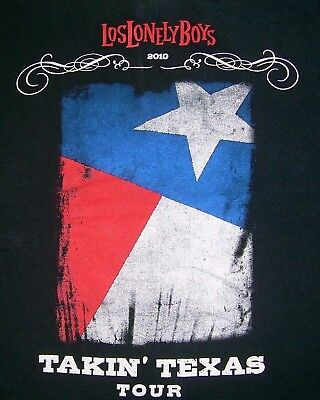Los Lonely Boys T Shirt Small Black Takin Texas Concert Tour 2010 Lone Star Flag