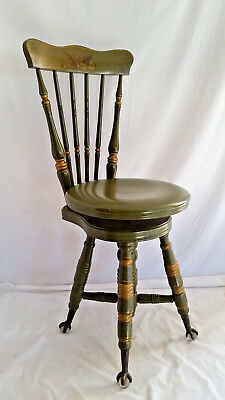 Antique Green High Back Piano Stool Chair Seat, Glass Ball Cast Iron Claw Feet