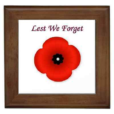 Lest We Forget Poppy Remembrance Ceramic Framed Tile - Wall Deco, Plaque, Art