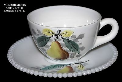 Westmoreland Beaded Edge w Fruit (Pear) Cup & Saucer