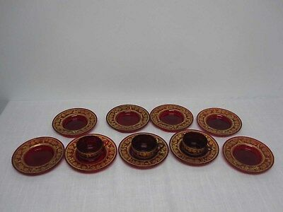 12 ANTIQUE CZECH BOHEMIA RUBY GLASS w ENAMEL GOLD PUTTO GRAPES TEACUPS & SAUCERS